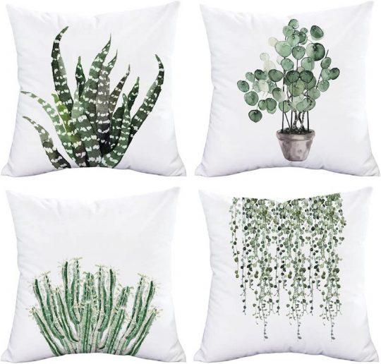 Set of four throw pillows - plants