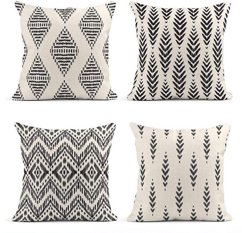 black and white throw pillow set