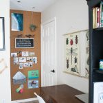 Easy DIY cork board wall + boy's workspace