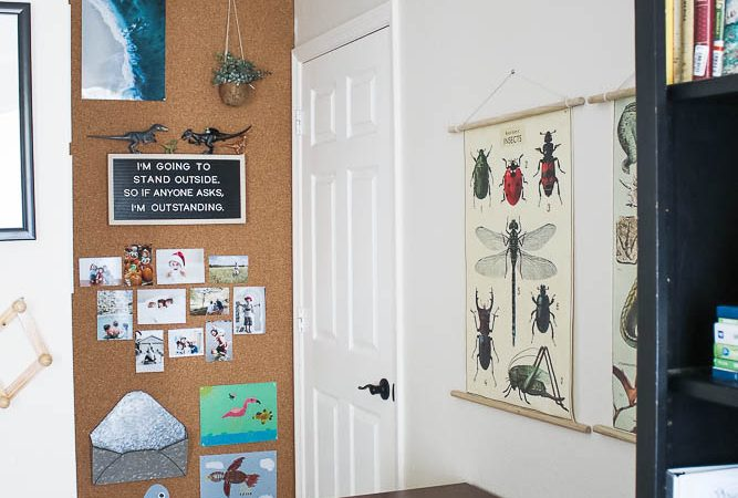 Easy DIY cork board bulletin wall with boys workspace in bedroom
