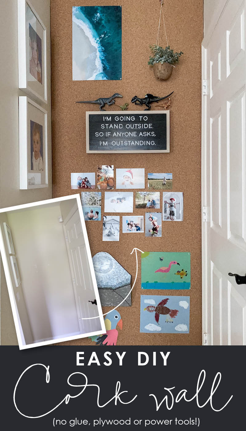 Easy DIY cork board wall - Make a giant bulletin board with no glue, plywood or power tools!