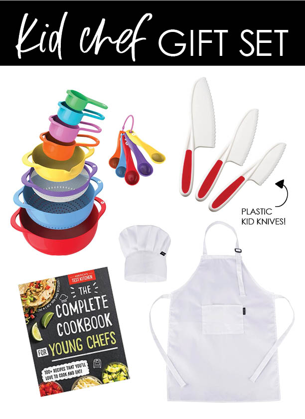 Kid chef gift set - Non toy present ideas - Colorful mixing bowl set, award-winning young chef recipe book, plastic kid knives, kid chef hat and apron