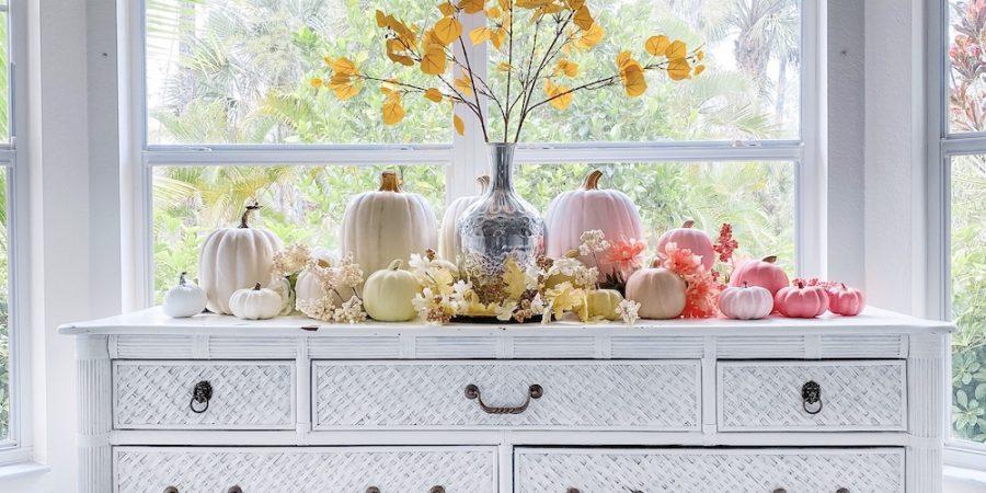 Painting ombre pumpkins - yellow orange pink - fall decor DIY crafts
