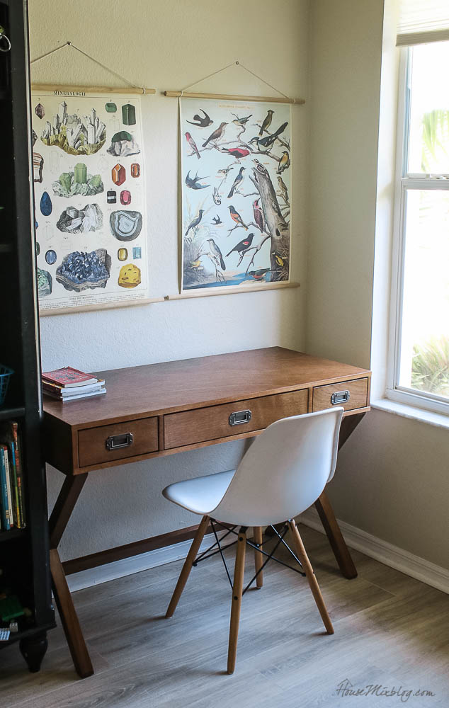 simple classic wood desk in boys room - DIY poster hanging kit