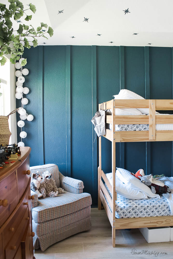 boys shared room teal peacock green board and batten wall and bunkbeds
