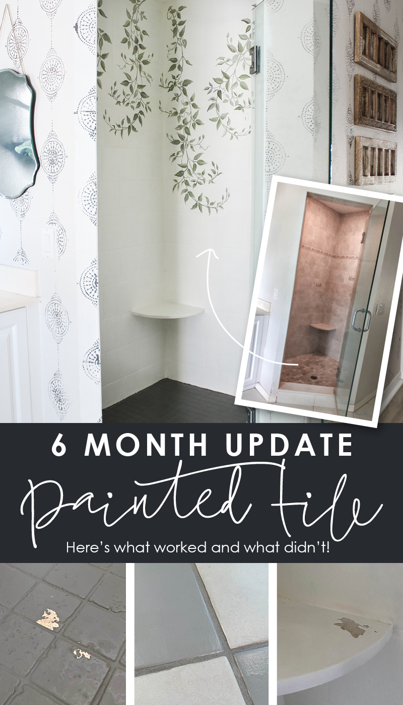 6 months painted tile update - how to paint floor and shower tile