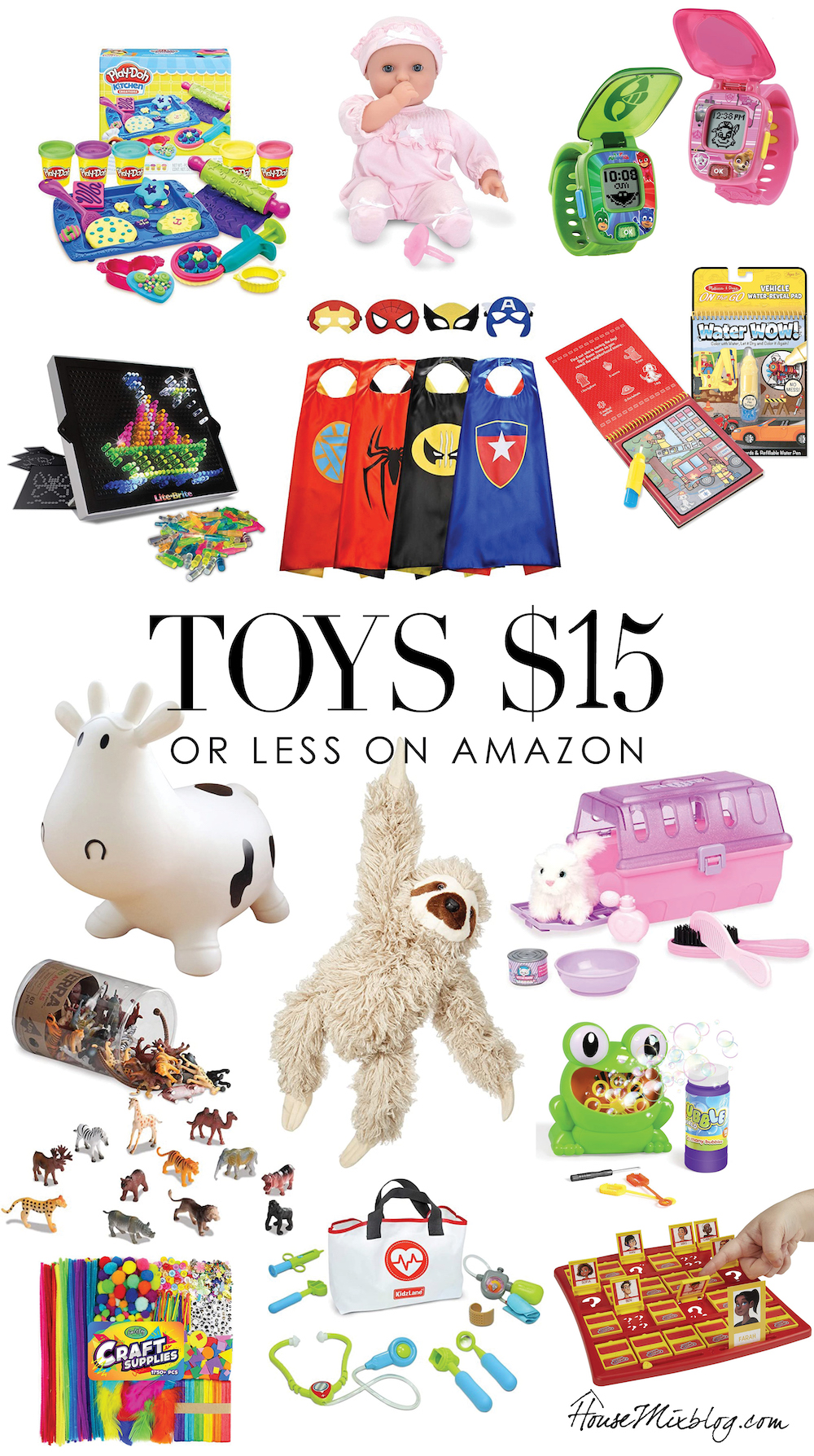 Gift guide for kids for Christmas or birthday - $15 or less on Amazon - inexpensive cheap budget toy ideas for boys and girls