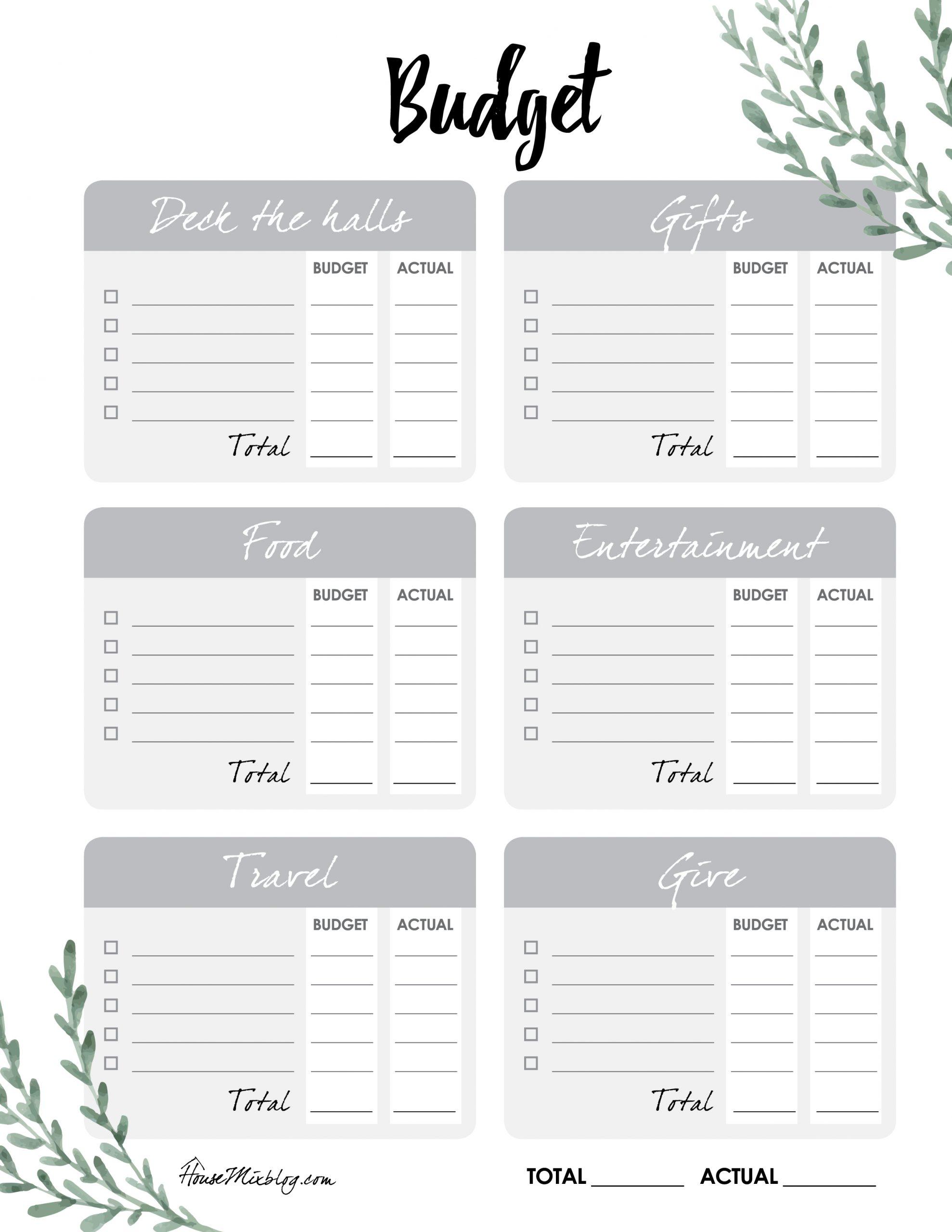 Printable Christmas planner budget worksheet checklist