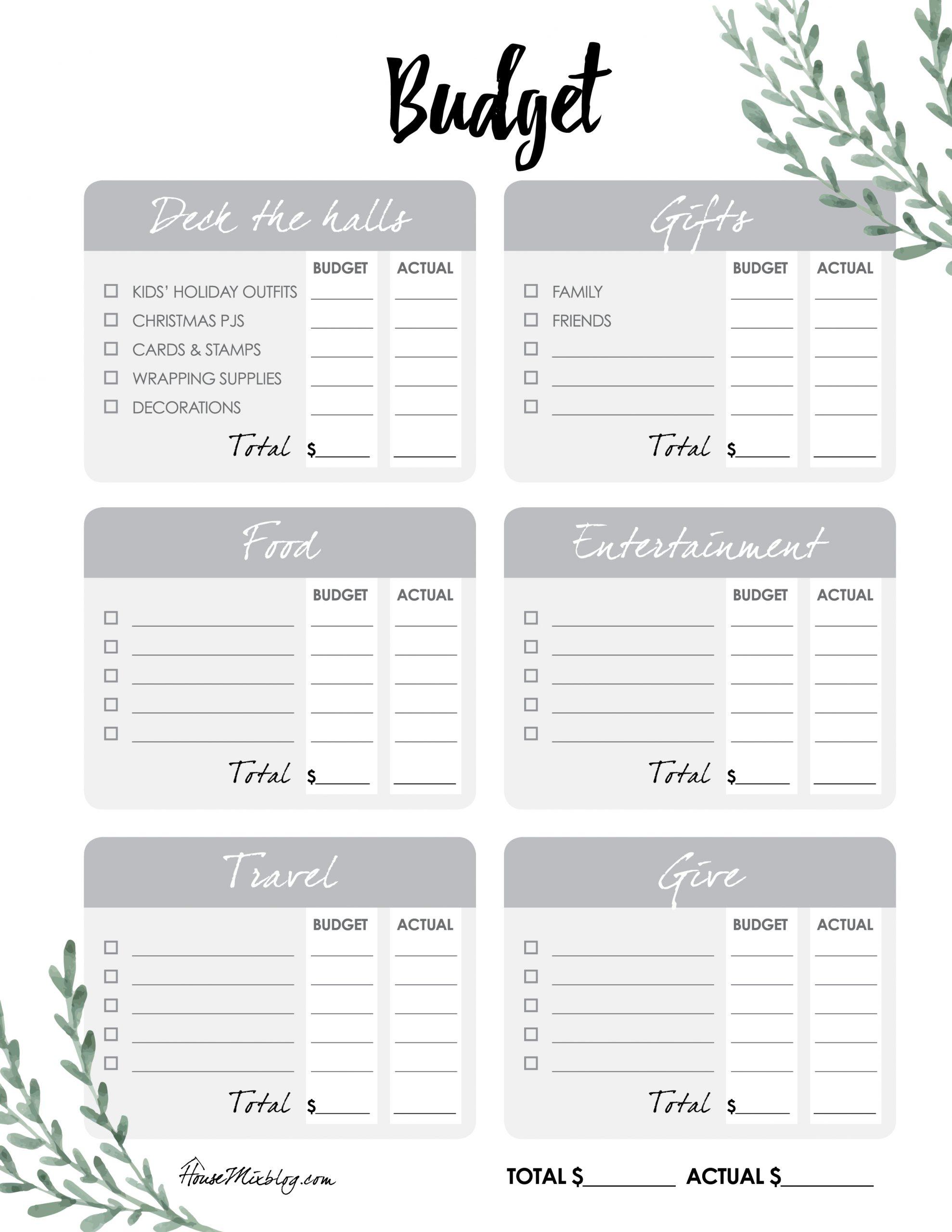 Free Christmas Checklist Budget Printables House Mix