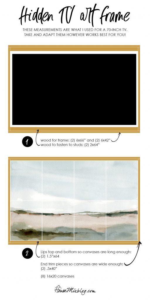 DIY TV frame design plans - art that hides the tv