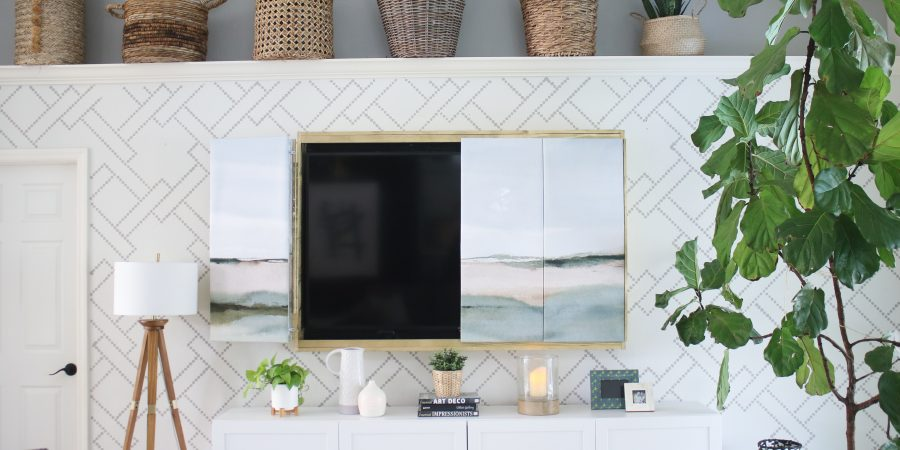 DIY tv frame with art canvas