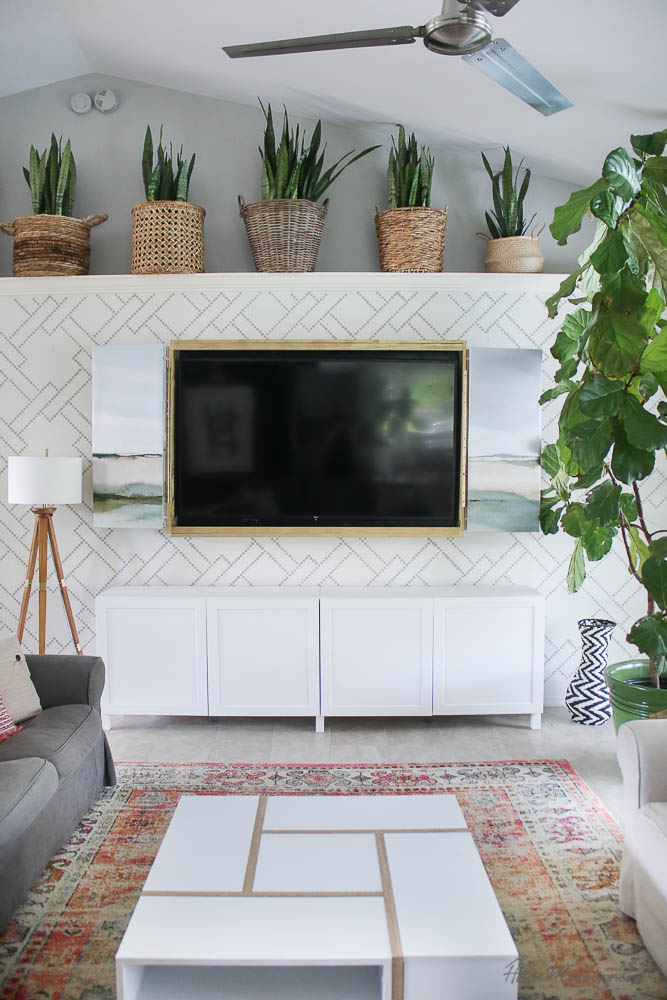 Hidden tv - DIY tv frame with art - ideas how to hide the tv - how to build a simple frame