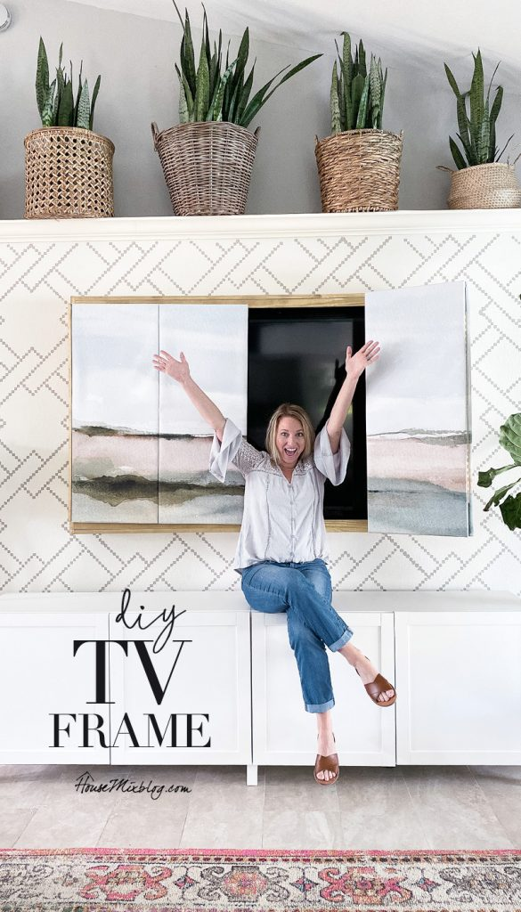 Hidden tv - DIY tv frame with art - ideas how to hide the tv - how to build a simple frame with piano hinges
