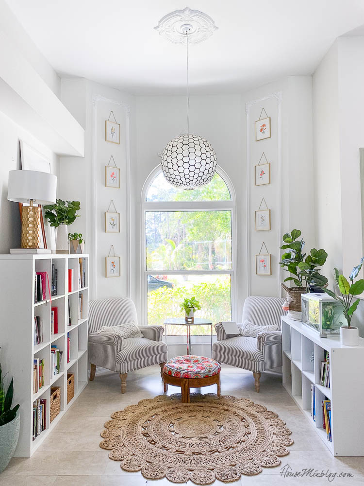 Frugal home tour- White reading nook with Ikea shelves and DIY moulding