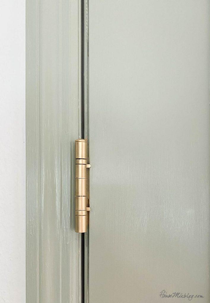 Spray painted gold door hinges