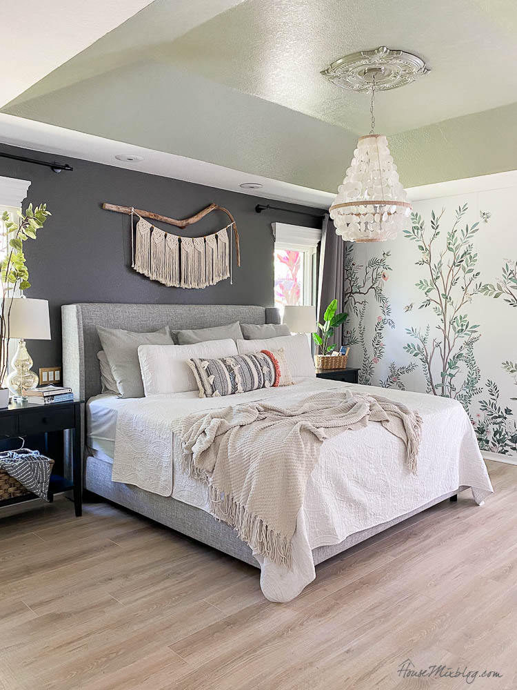 Master bedroom with chinoiserie wallpaper mural, Kendall Charcoal accent wall and Sage Wiscom ceiling-1