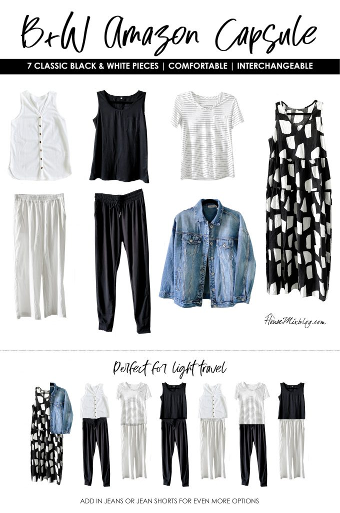 Affordable black and white Amazon summer or spring wardrobe capsule - light travel packing - classic clothes + basics - comfortable and interchangeable