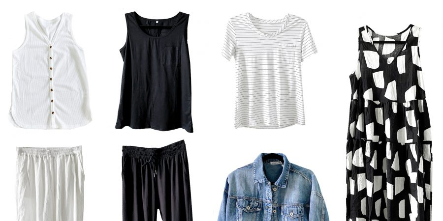 Black and white Amazon summer or spring wardrobe capsule - light travel packing - classic clothes and basics