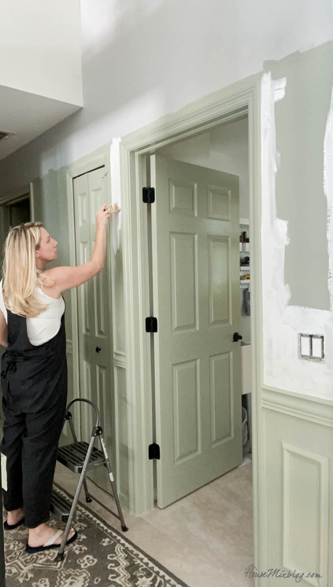 Painting the hallway Benjamin Moore Paper White and Sage Wisdom