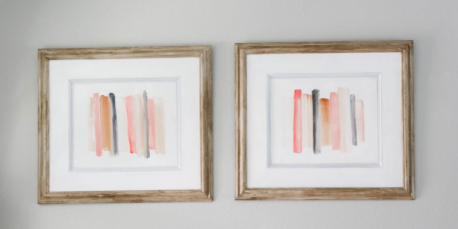 2 step faux wood painting + simple DIY colorful art