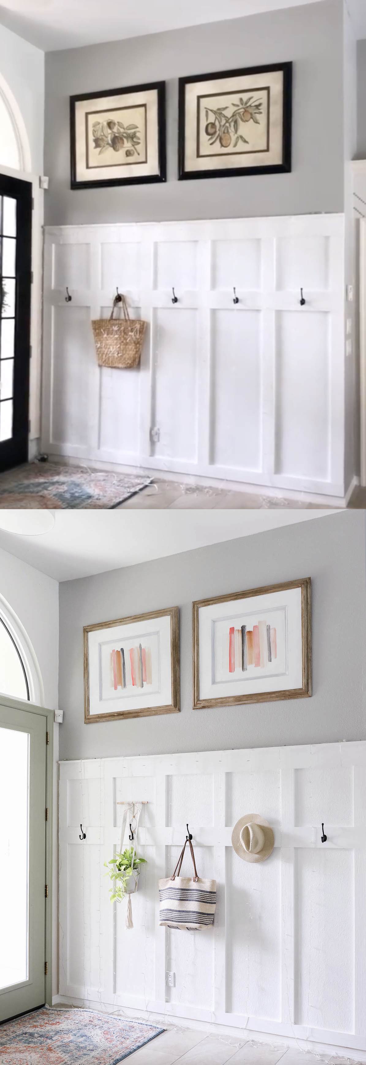 Easy faux wood painting and DIY colorful art -before and after