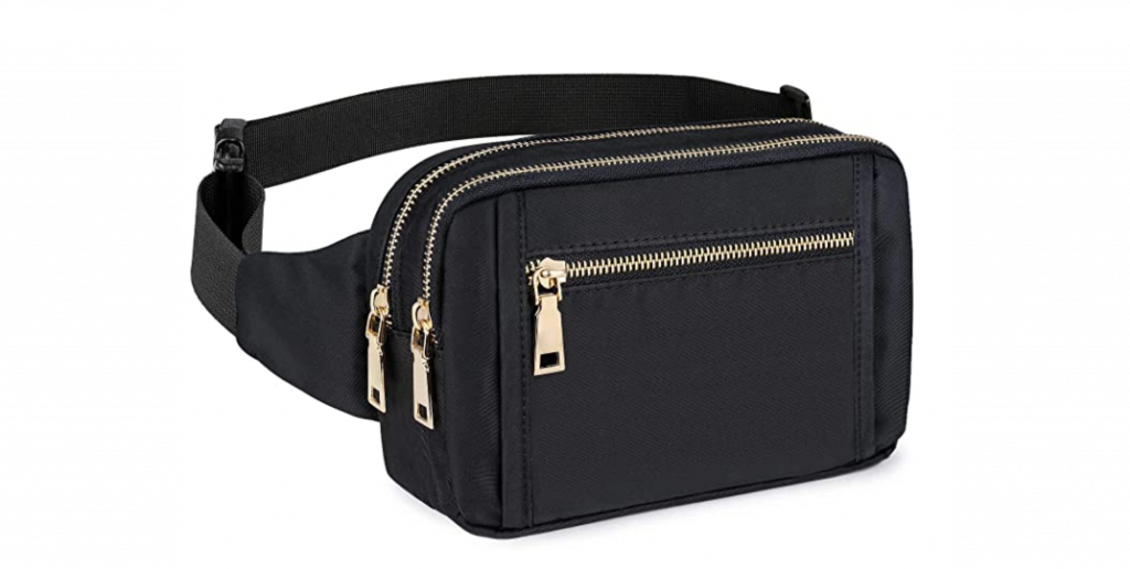 Black waterproof fanny pack with gold zippers
