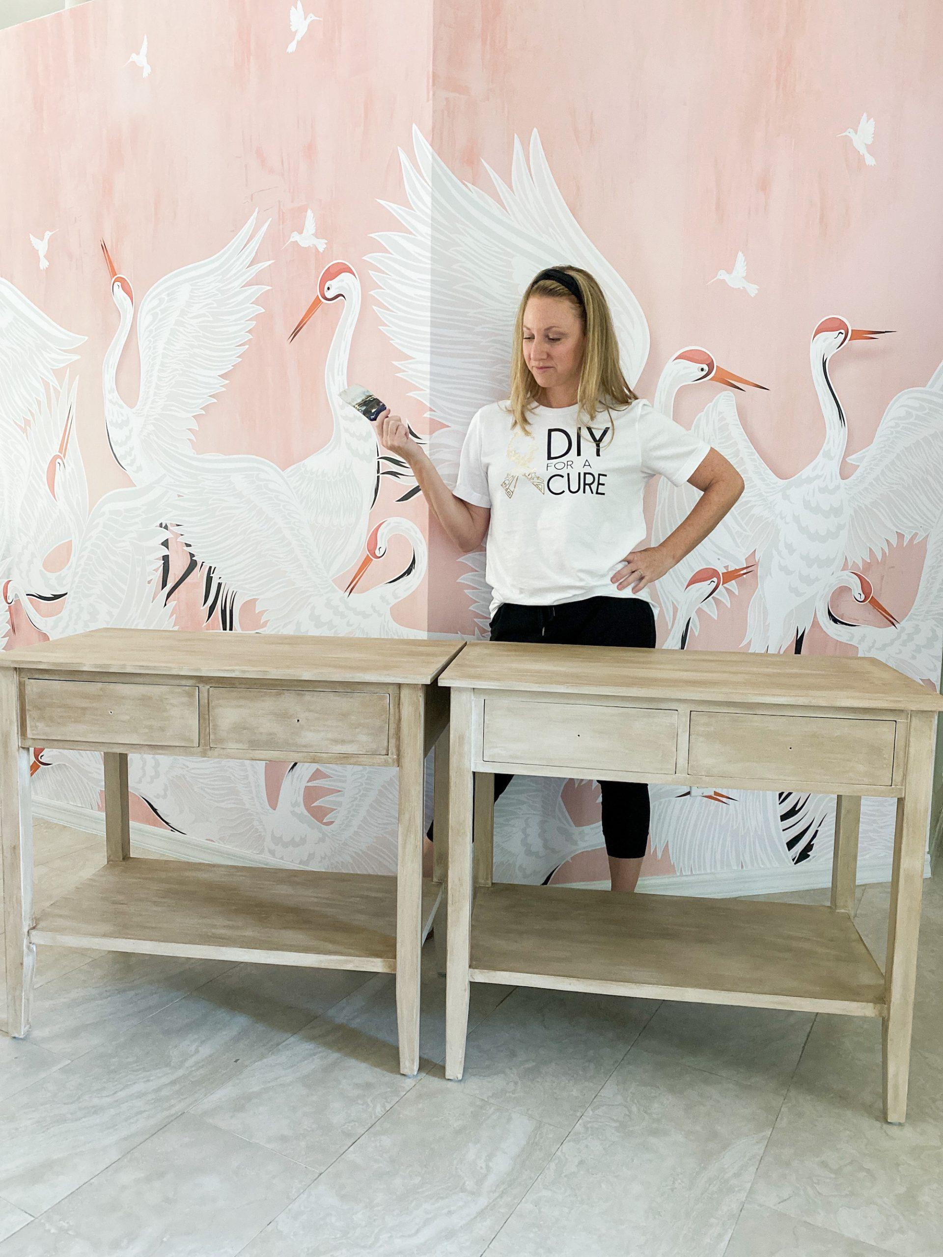 Faux wood painted nightstands DIY tutorial