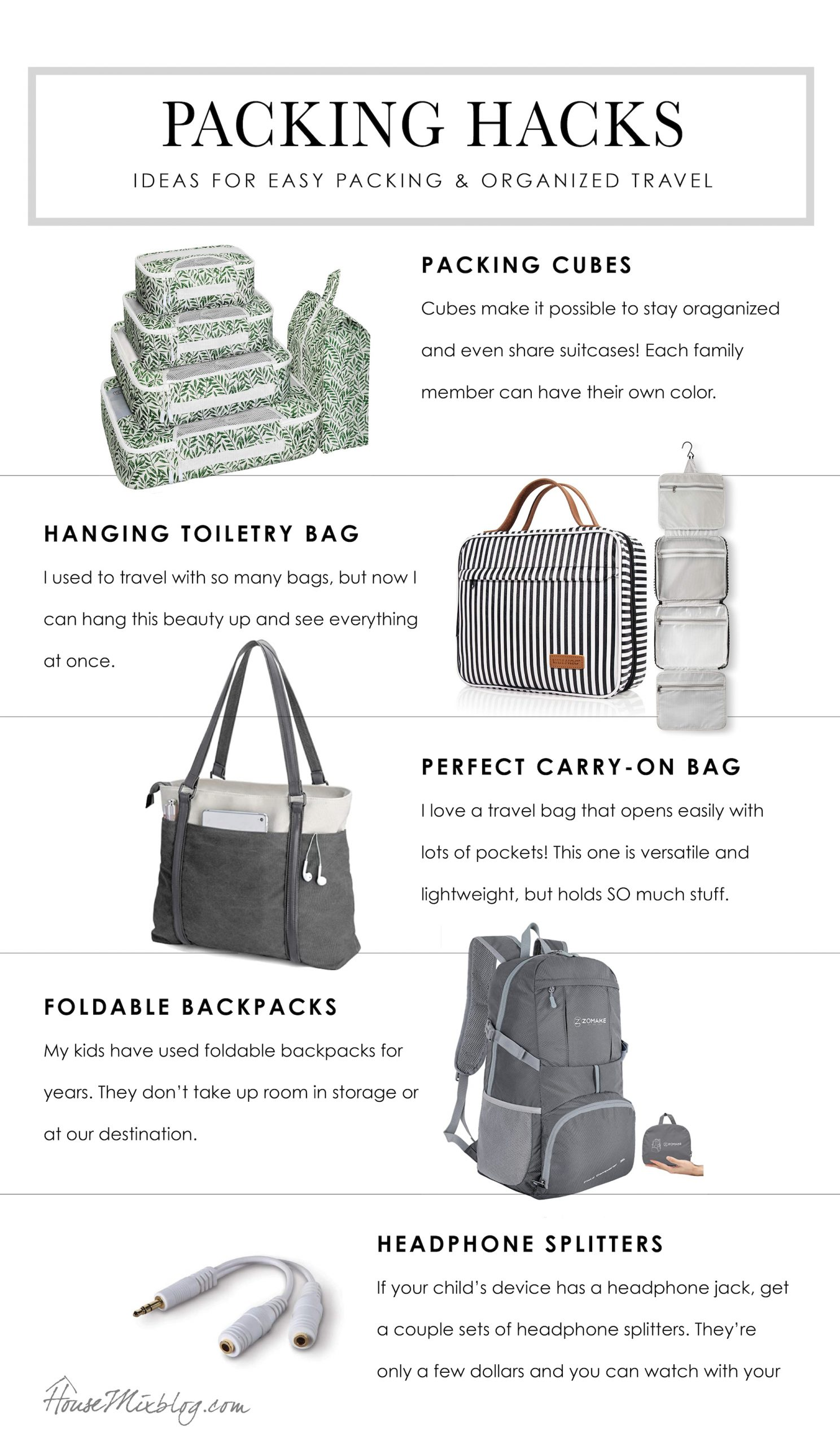 Packing hacks - Ideas and tips for easy packing and organized travel