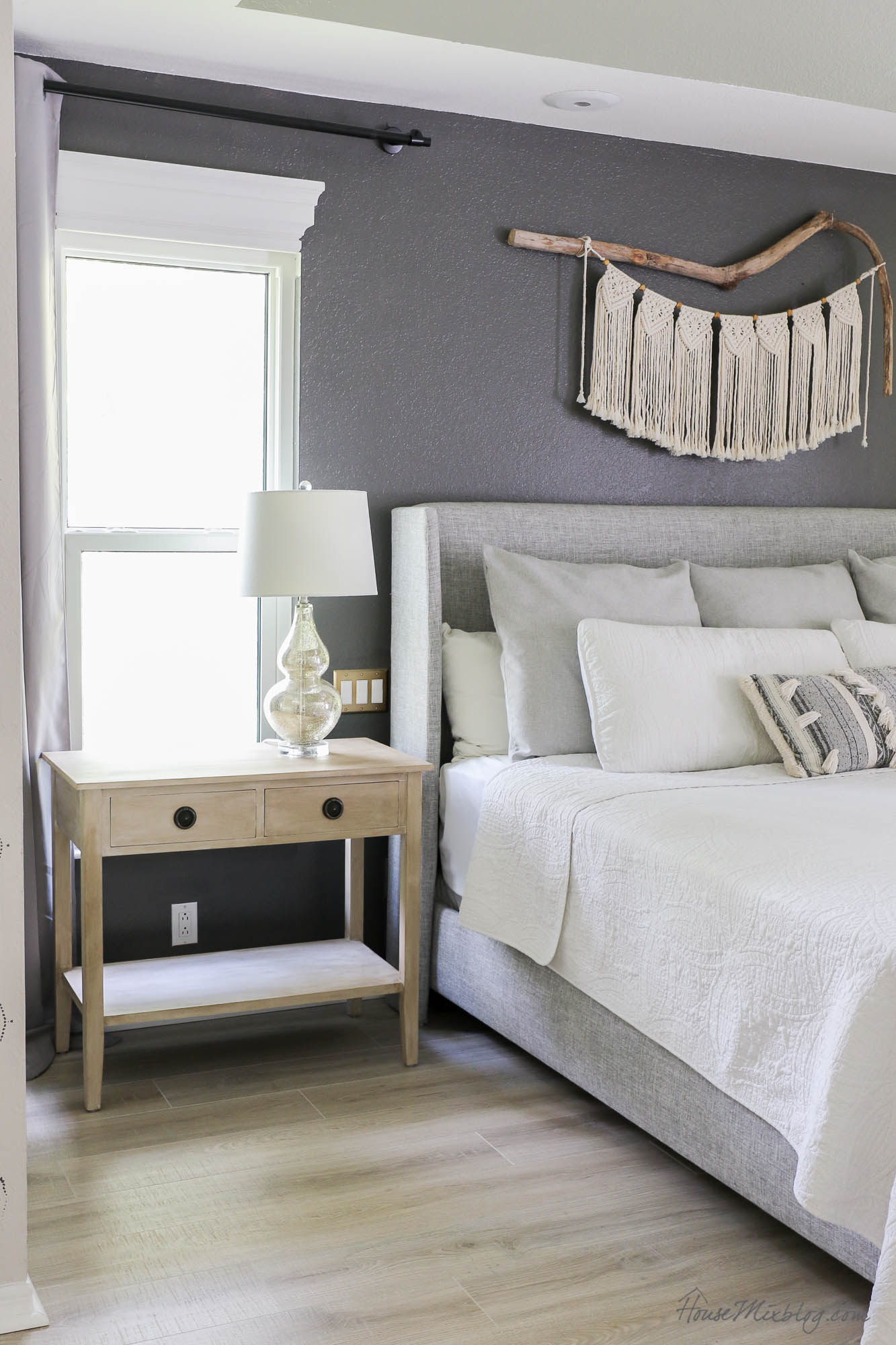 Painting nightstands to look like raw wood - faux wood paint DIY