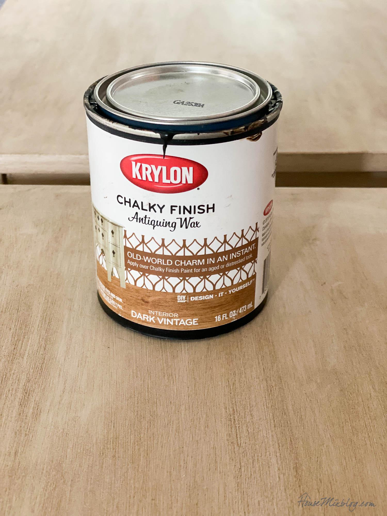 faux wood painting DIY tutorial- antiquing wax