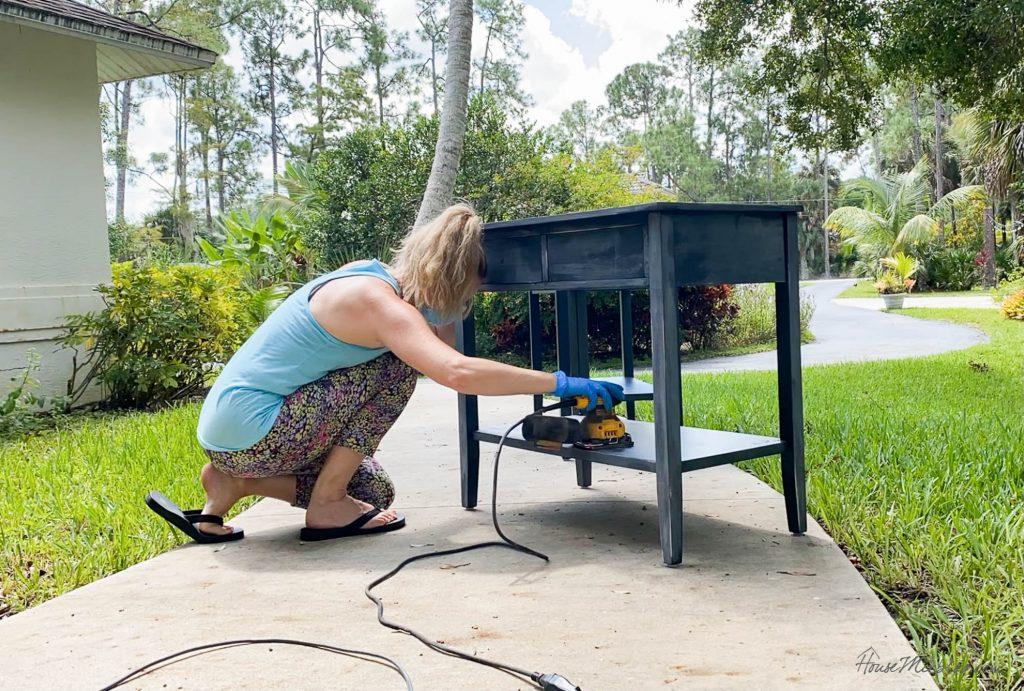 faux wood painting DIY tutorial - sanding furniture
