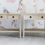 Painted faux wood nightstands