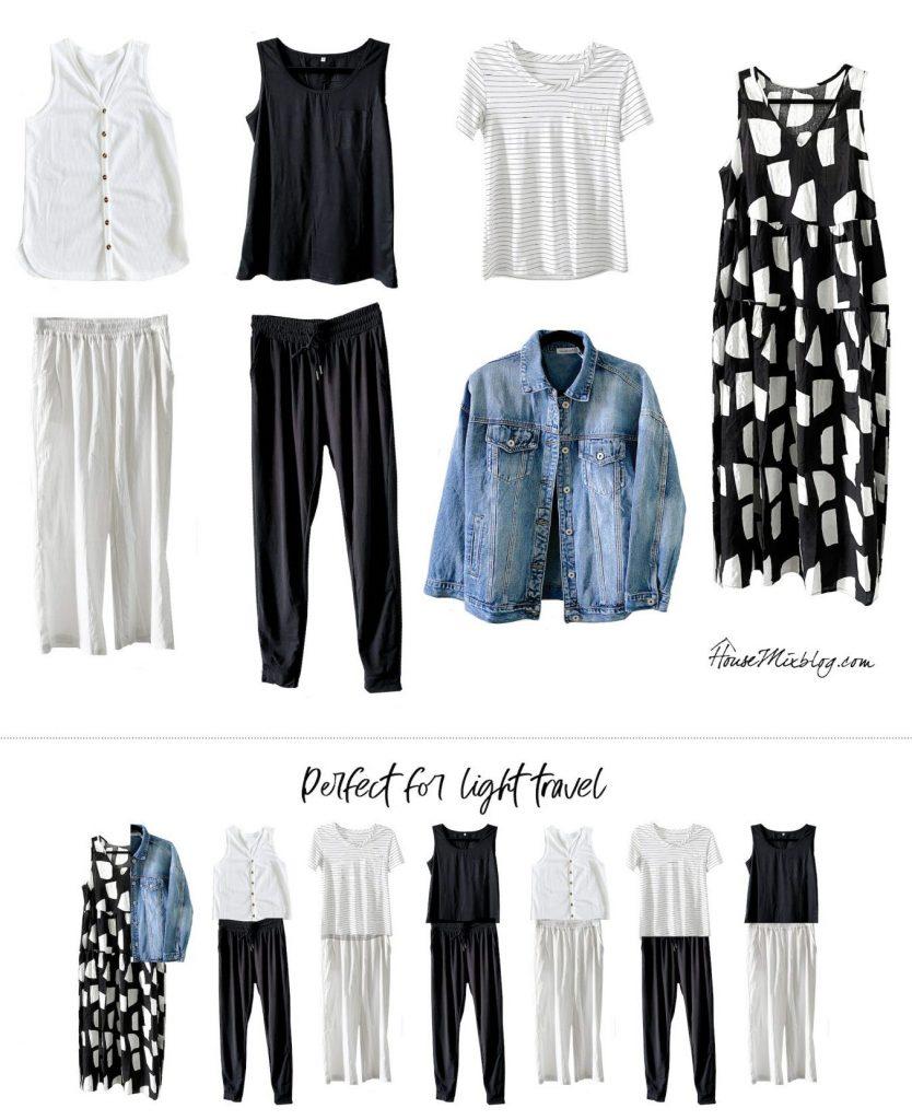 Black and white amazon wardrobe capsule - perfect for light travel