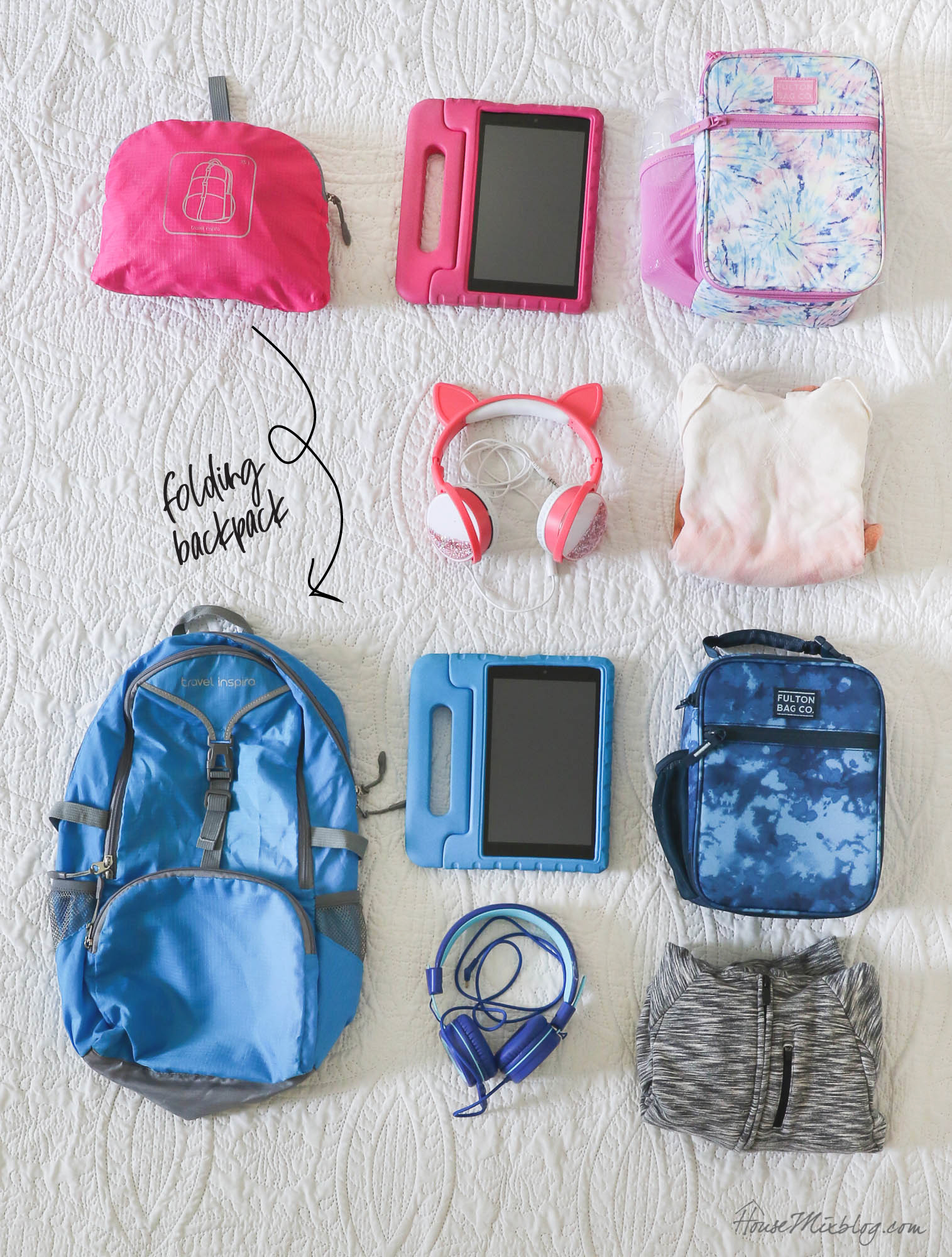 Packing hacks and printable travel checklists - folding backpacks for kids